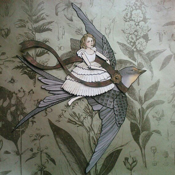 Thumbelina and The Swallow  Jointed Paper Doll by FiveAndNineteen, $10.50