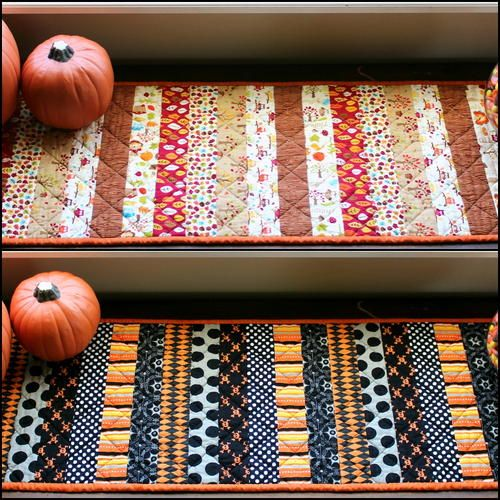 The Reversible Holiday Table Runner for Halloween and Thanksgiving is a beautiful table runner tutorial that can be used October through November. Learn how to make a table runner.