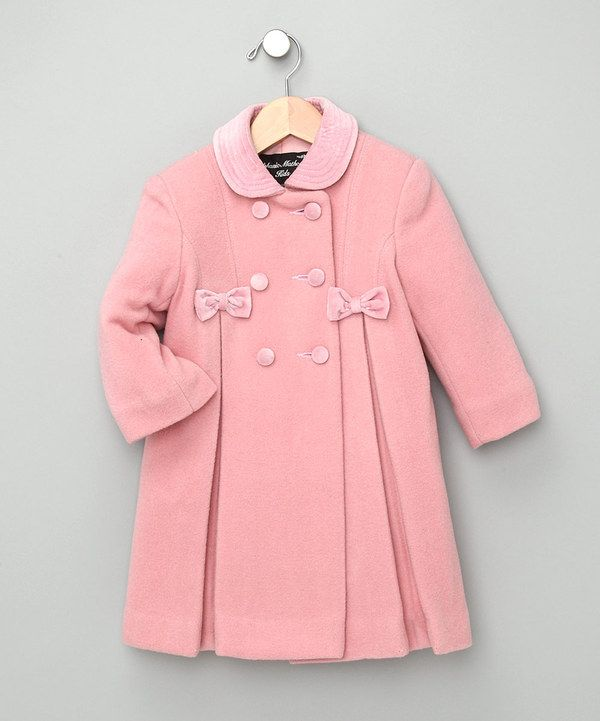 Take a look at this Pink Bow Wool-Blend Swing Coat - Infant on zulily today!