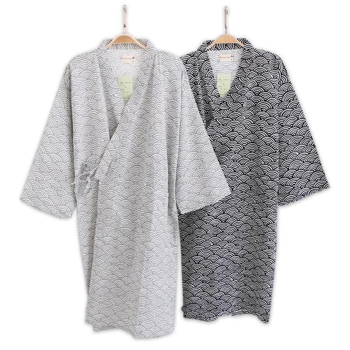 Japanese Style Men Thin Cotton Bathrobe Pajamas Kimono Skirt Gown Gauze Nightgown Kimono Bathrobe Black