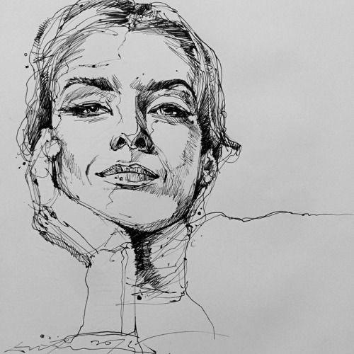 Line Drawing Face Woman : Best ideas about graphite illustrations on pinterest