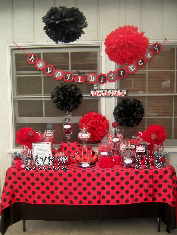 Table Decoration Ideas For Birthday Party vintage candy theme birthday party table decorations great for a sweet 16 party Birthday Party Decorating Ideas Ladybug Birthday Ladybug Birthday