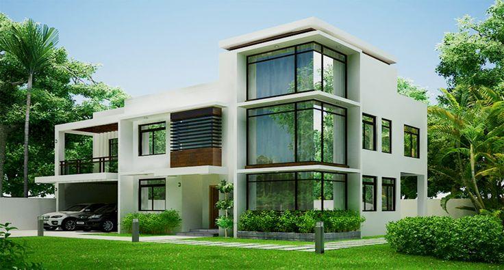 Вариант бетонного загородного дома белого цвета в современном стиле