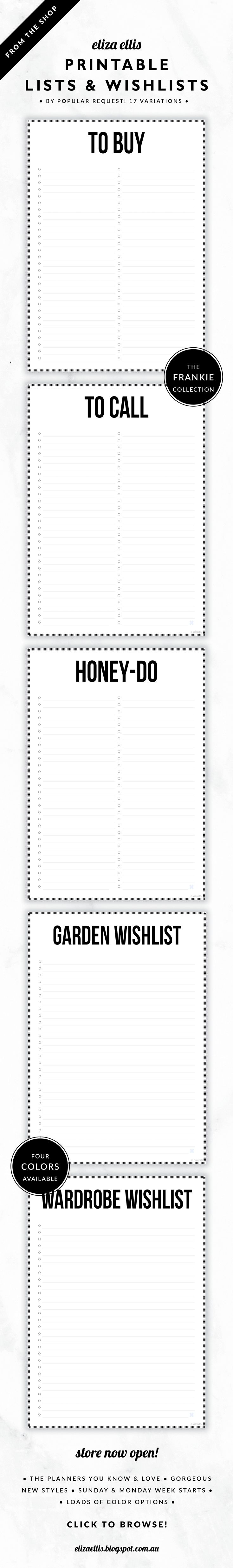 Printable Lists and Wishlists – batch your tasks with the to buy, call and follow up lists. Prioritize your time with the now/later/someday lists, write down the series/books/music you'd love so you don't forget –ditto for home/garden/beauty and fashion, and keep up to date with the home and garden maintenance lists. // The Frankie Collection by Eliza Ellis. Classic, bold design with hash border. Available in 4 colors – silk, mist, smoke and bone. Documents print to A4 or A5.