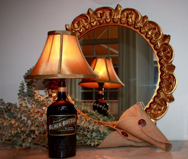 Black bottle lamp