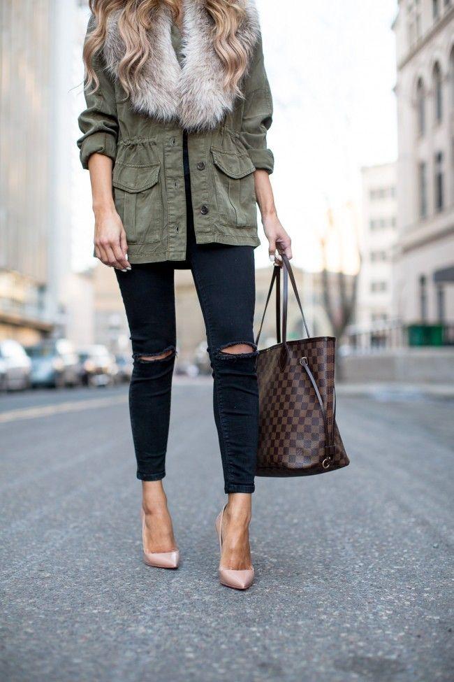 Topshop Military Coat. Topshop Black Jeans. Christian Louboutin 'So Kate' Pumps. Lous Vuitton Neverfull MM.