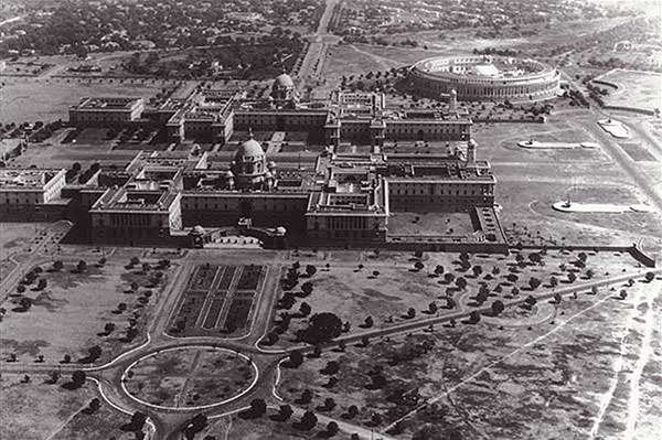 Parliament Buildings, New Delhi - with a very under developed Dalhousie Road