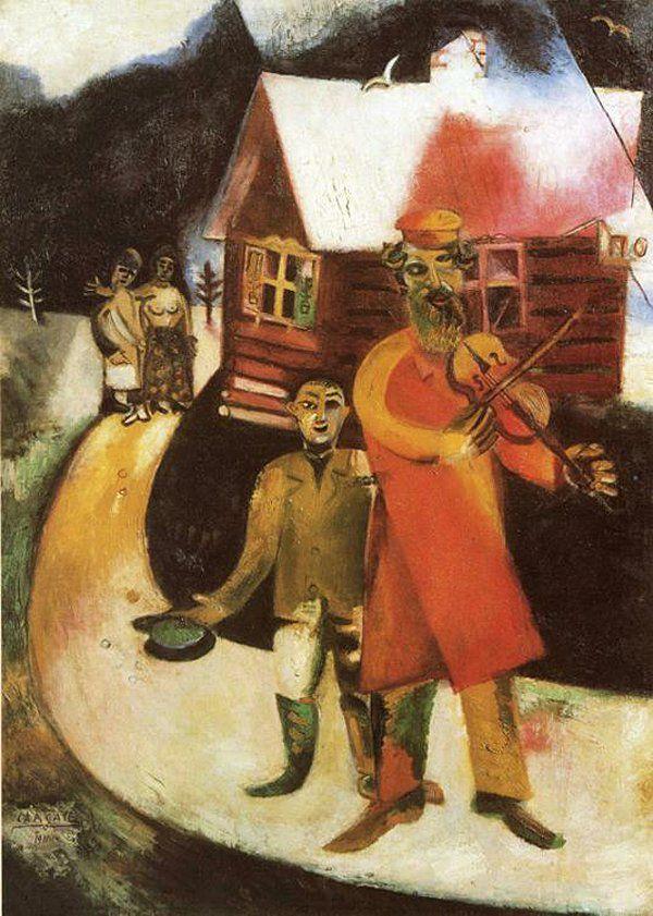 """Chagall, Pintor De Sonhos... """"O Violinista"""", 1911: Na imagem, uma linha diretriz indica o traçado do caminho como motivo principal, proporcionando uma unidade de espaço e de cenário.O violinista vestido de vermelho,atrás do qual um mendigo pede esmola,é a figura dominante.Como, tradicionalmente, ele conduz cortejos nupciais,podemos interpretar as duas pessoas, ao fundo,como um casal recém casado."""