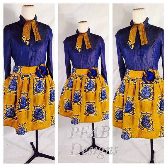 African Clothing/The African Shop/African Fabric/ High Fashion/ Short Skirt/Handmade/PFAB Style Bel Short Skirt Made to order