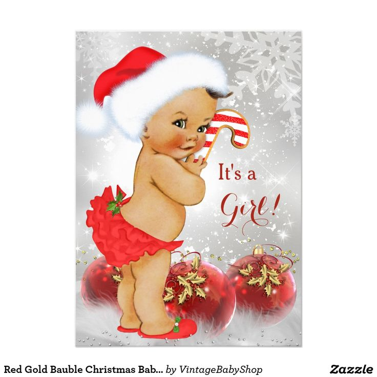 Red Gold Bauble Christmas Baby Shower Brunette 5x7 Paper Invitation Card