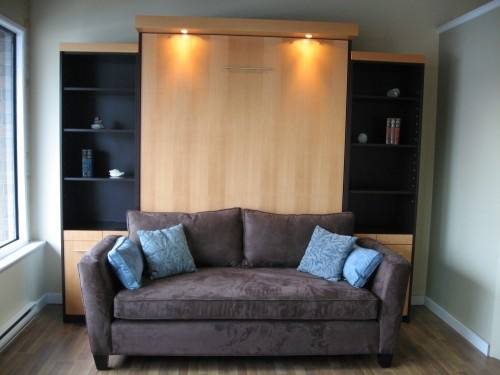 example of free standing murphy bed system, with backless sofa