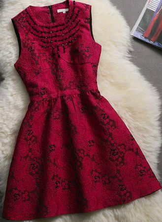 Red Beading Sleeveless A-line Dress