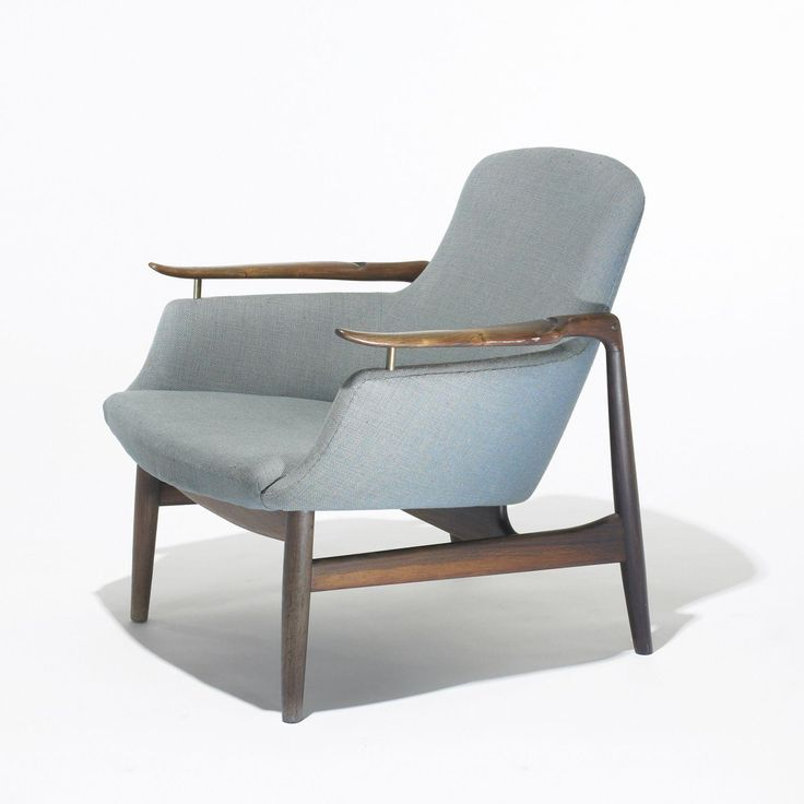 Finn Juhl; #NV-53 Rosewood and Brass Lounge Chair for Niels Vodder, 1953.