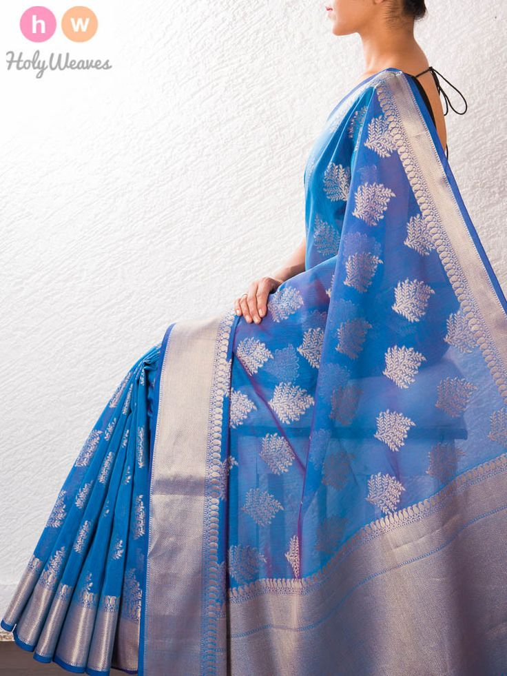 Blue Cotton Silk Brocade Saree – HolyWeaves