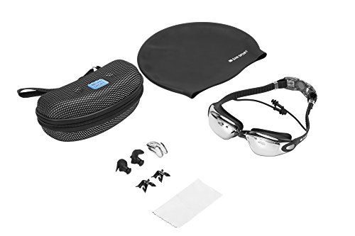San Sport Swimming Goggles with 100% UV Protection Anti Fog Adjustable Straps for Men and Women + Protective Goggle Case, Silicone Swim Cap, Silicone Ear Plugs and Nose Clip (Black) - http://fitness-super-market.com/?product=san-sport-swimming-goggles-with-100-uv-protection-anti-fog-adjustable-straps-for-men-and-women-protective-goggle-case-silicone-swim-cap-silicone-ear-plugs-and-nose-clip-black