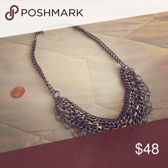 1 DAY SALE🚀 Chain Bib Necklace Silver tone mixed chain mail bib necklace. Jewelry Necklaces