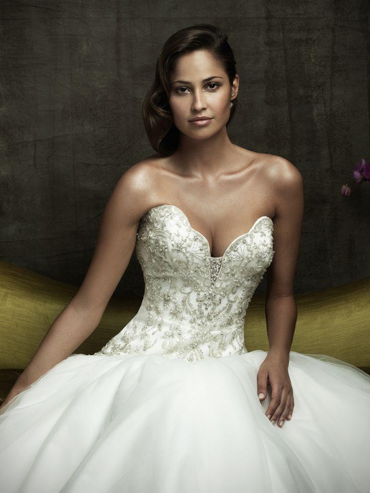 Bert bridal plunge neckline lace dresses