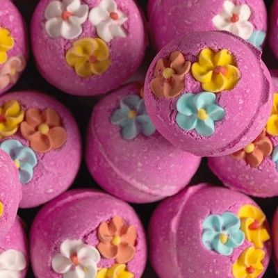Lush Think Pink bathbomb, turns the water a beautiful pink colour with little confetti hearts in it; also smells lovely & makes my skin so soft :)