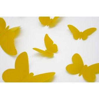 3D Sárga pillangók csomag : 3D matricák - KaticaMatrica.hu - A minőségi falmatrica és faltetoválás webáruház