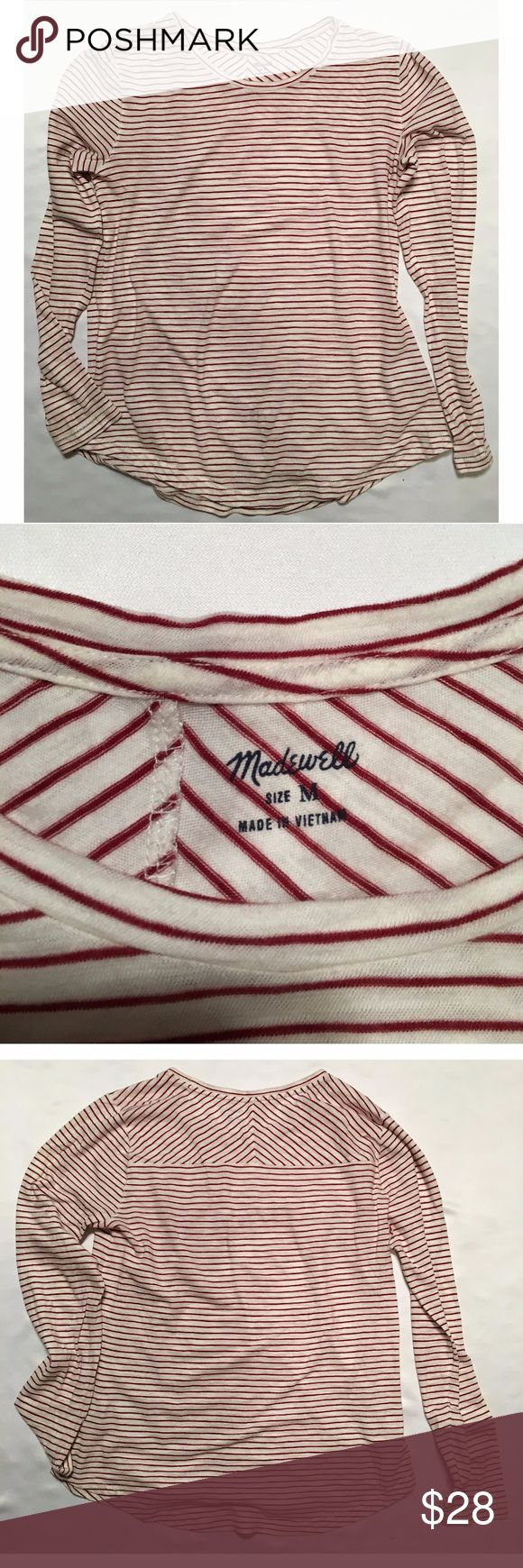 Madewell M long-sleeved red and white shirt Madewell size Medium long-sleeved red and white shirt. Great condition! Comfortable, cute on its own or layered under a sweater, maybe dark gray. Madewell Tops Tees - Long Sleeve