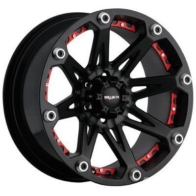 Ballistic Off-Road Wheels 814 Jester - 17 inch 17x9.0 Off-Road Black Wheels with Red Accents