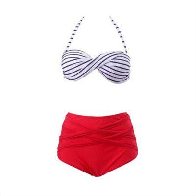 GLANE Curly Bikini Sexy Women Triangle Push-Up Bikini Set High Waist Bandeau Swimwear Padded Swimsuit Bra Beachwear Biquini