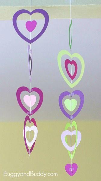 Valentine Crafts for Kids: Paper Heart Mobile~ BuggyandBuddy.com
