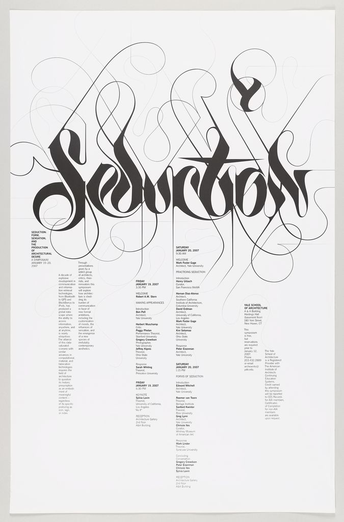 "Modified gothic/arabic black script reading ""seduction"" across upper section of poster. Long sinuous lines extend from the serif edges creating an open network of thin hair-like spirals. Informational text arranged in vertical columns below center."