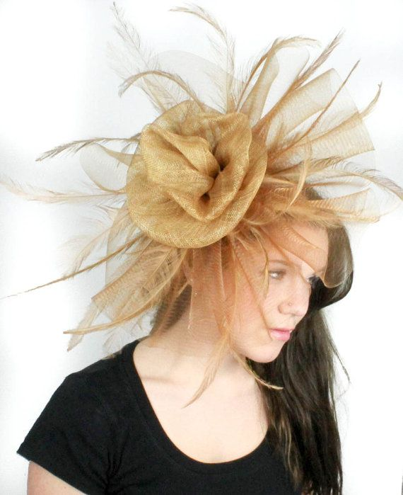 Old Gold Fascinator Hat For Weddings Occasions By Hatsbycressida