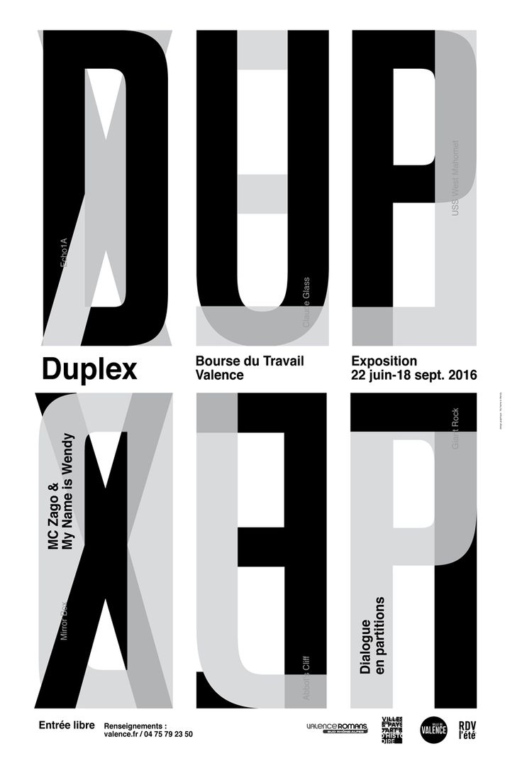 Poster design monochrome - Identity Of Exhibition Duplex Dialogue En Partitions Artists Mc Zago My Name Is Wendy