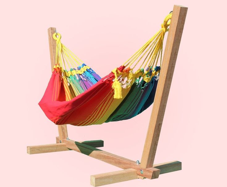 Rainbow Baby Hammock colour #2 with hardwood baby hammock stand : Quality Hammocks and Hanging Chairs, Marañon World of Hammocks