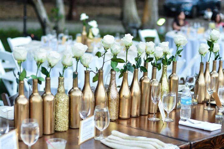 558 best unique wedding ideas images on pinterest for Gold wine bottle centerpieces