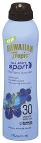 Hawaiian Tropic Island Sport Sunscreen, Clear Spray, 30 UVB/SPF with UVA, 6 oz. by Hawaiian Tropic. $8.72. Contains Skin-Nourishing Antioxidants. Won't Run Into Eyes. Provides Broad Spectrum UVA/UVB Protection. Hydrates Skin. Water/Sweat Resistant Formula. SunSure protection. Protect. Pamper. Nourish. Hydrates skin. Very water resistant. Skin-nourishing antioxidants. Blue water, golden sun, and Island Sport spray sunscreen: Quench your skin with this moisture-rich blend. For...