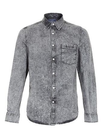 Black Acid Wash Long Sleeve Denim Shirt