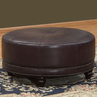 """Lazzaro Leather Cindy Round Leather Ottoman Overall: 18"""" H x 36"""" W x 36"""" D  V0"""