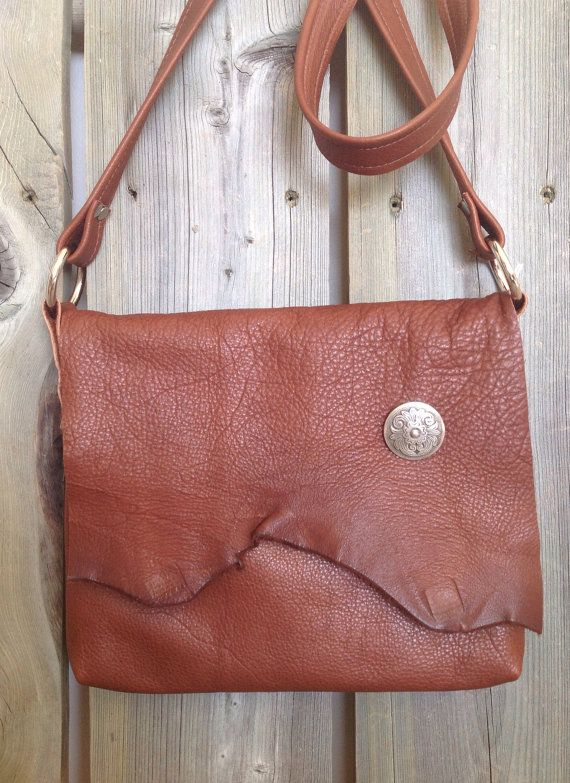 Cognac Brown Leather Side Bag with Raw Edge Flap & Silver Floral Concho by HeartnSoulHandbags, $240.00