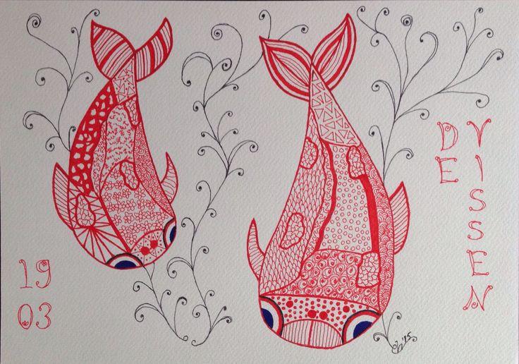 De Vissen, inkt op papier, 21x30, 2015 (kadootje voor Janny)