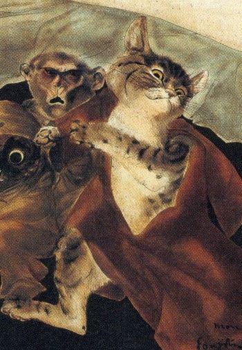 藤田嗣治 / 『私の夢』(1947) 猫の部分のみ