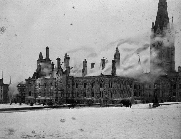 We frequently have pictures on Lost Ottawa related to the fire at Parliament's Centre Block in 1916. The West Block, however, was the scene of this spectacular fire on February 11, 1897. Many valuable documents from the various government departments were lost in the fire. The building was severely damaged, but not so badly that it had to be demolished. (LAC C-017502)