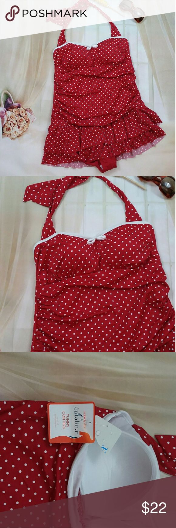 New Catalina Red Polka Dot Tummy Control Swimsuit This is a new Catalina red polka dot tummy control suddenly slim line swimsuit. It is a one piece. That does have white piping with the tiny bow at the top. It does also have a tiered ruffle skirt. Is still has the for tags and is sold without flaws or stains Catalina Swim One Pieces