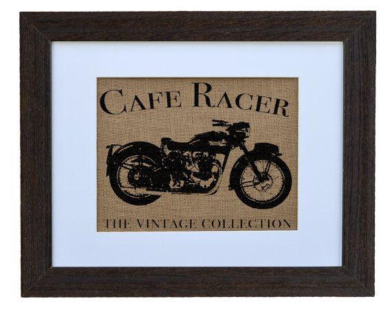 Cafe Racer Burlap Wall Art Motorcycle Decor by fiberandwater, $45.00