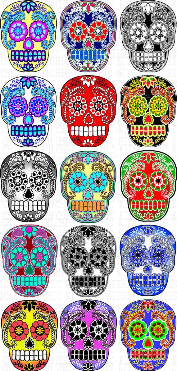 Colorful Sugar Skull Digital Pictures