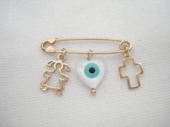 Baby girl pin Baby safety pin Cross charm pin Stroller by Poppyg