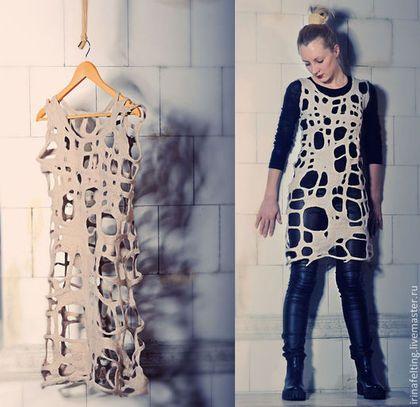 Платья ручной работы. Ярмарка Мастеров - ручная работа Валяное платье-туника. Handmade.