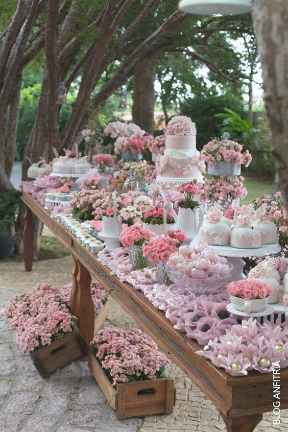 AMAZING - Garden party or summer outdoor #wedding dessert table filled with gorgeous pink flowers.