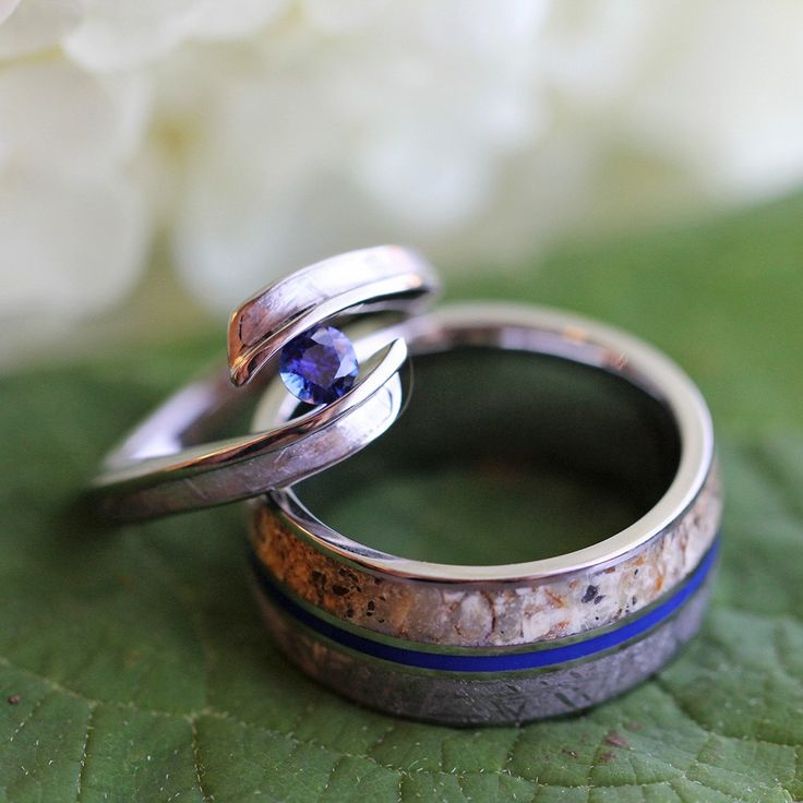 Meteorite and dinosaur bone unique wedding ring set, meteorite and dinosaur bone wedding band and sapphire engagement ring
