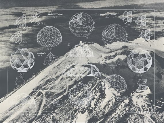 """Buckminster Fuller, """"Laminar Geodesic Dome, United States Patent Office no. 3,203,144,""""from the portfolio """"Inventions: Twelve Around One,""""1981"""
