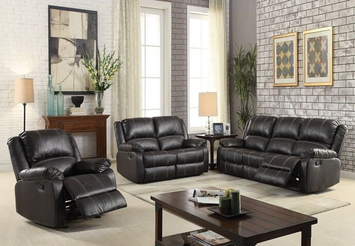 2 pc zuriel collection black faux leather upholstered sofa and love rh pinterest com