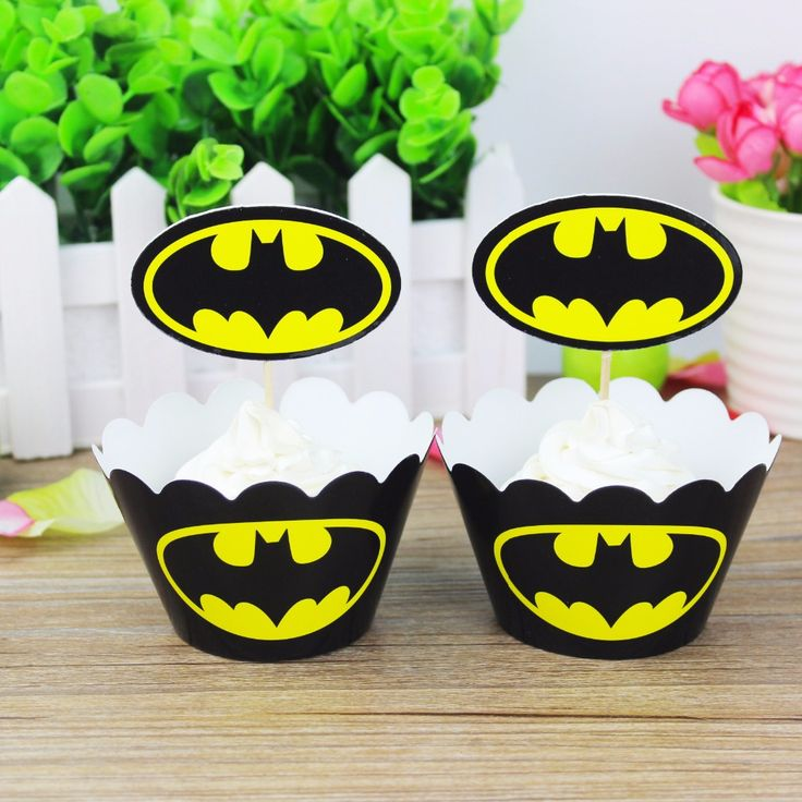 Aliexpress.com : Buy Batman cupcake toppers picks decoration for kids birthday party favors supplies decoration(12 toppers+12 wrappers) from Reliable batman cupcake suppliers on Party Boutique