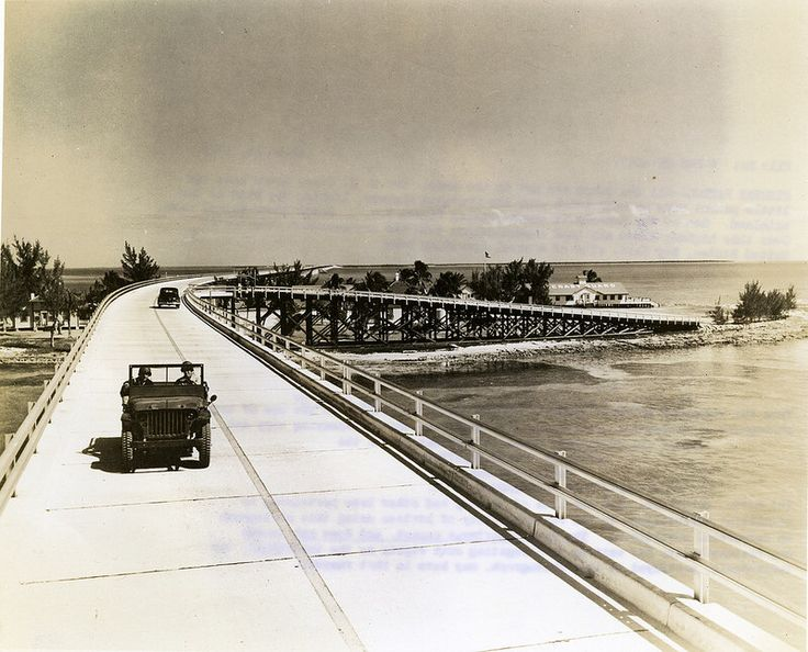 March 16, 1943 / U.S. Coast Guard jeep on the 7 Mile Bridge, Overseas Highway leaving the base on Pidgeon Key, #Florida Keys and #KeyWest. Photo collection of Scott De Wolfe - U.S. Navy